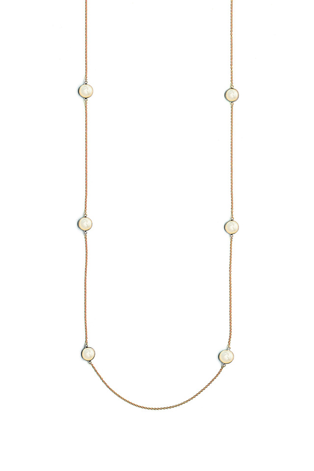 Yellow Gold Mother Of Pearl Chakra Necklace