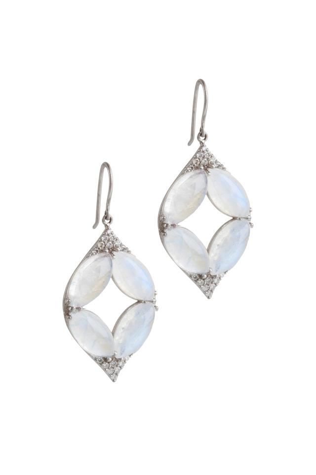 Aladdin White Gold Moonstone & Diamond Earrings