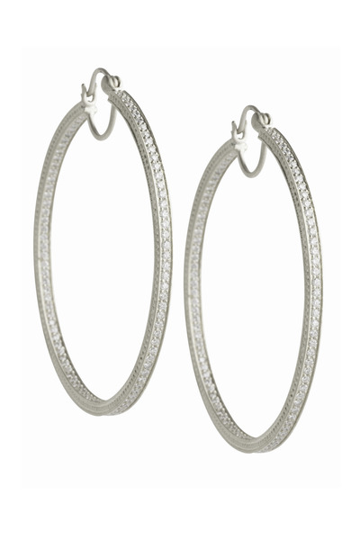Jamie Wolf - White Gold Pavé-Set Diamond Hoop Earrings
