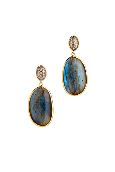 Syna - Yellow Gold Labradorite Diamond Dangle Earrings