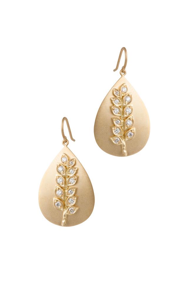 Yellow Gold Vine Fossil Diamond Earrings