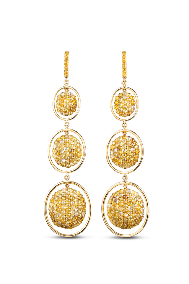 Yellow Gold Mixed Color Pavé-Set Diamond Earrings