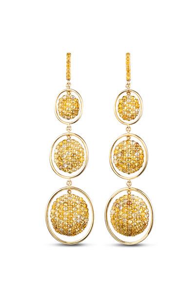 Kathleen Dughi - Yellow Gold Mixed Color Pavé-Set Diamond Earrings