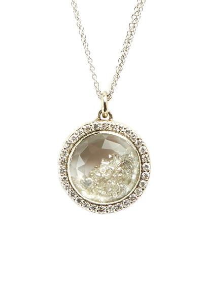 Renee Lewis - White Gold Diamond Rimmed Shake Necklace