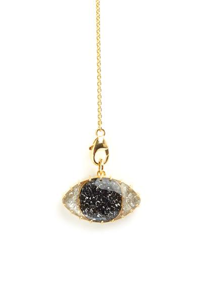 Renee Lewis - Gold Third Eye Black & White Diamond Necklace