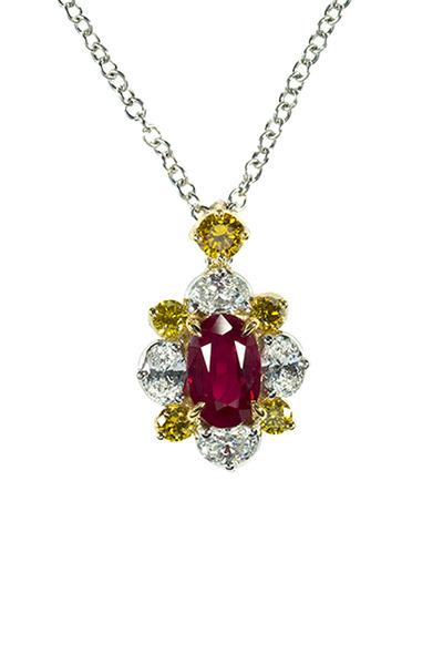 Oscar Heyman - Platinum Burma Ruby & Diamond Pendant