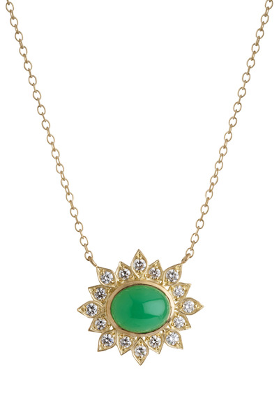 Jamie Wolf - Aladdin Gold Chrysoprase Diamond Edged Necklace