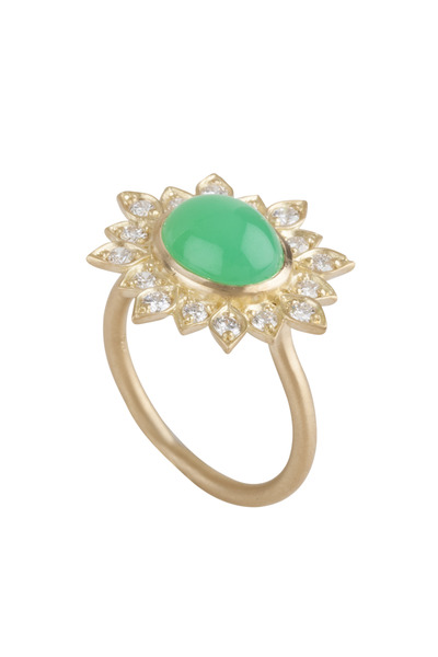 Jamie Wolf - Aladdin Yellow Gold Chrysoprase & Diamond Ring