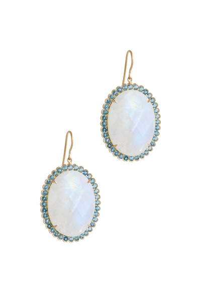 Jamie Wolf - Yellow Gold Rainbow Moonstone & Oval Aqua Earrings