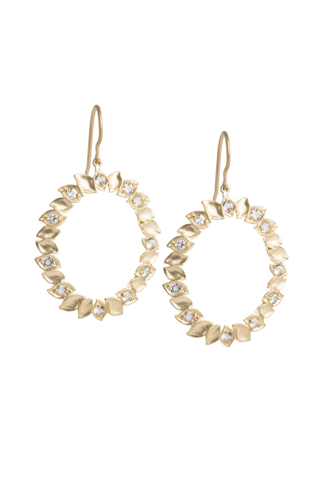 Yellow Gold Leaf Edged White Topaz Earrings