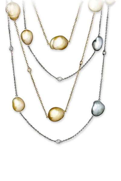 Kathleen Dughi - Yellow Gold Baroque Pearl Diamond Necklace