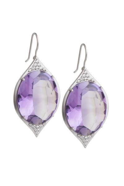 Jamie Wolf - Aladdin Gold Amethyst Pavé-Set Diamond Earrings