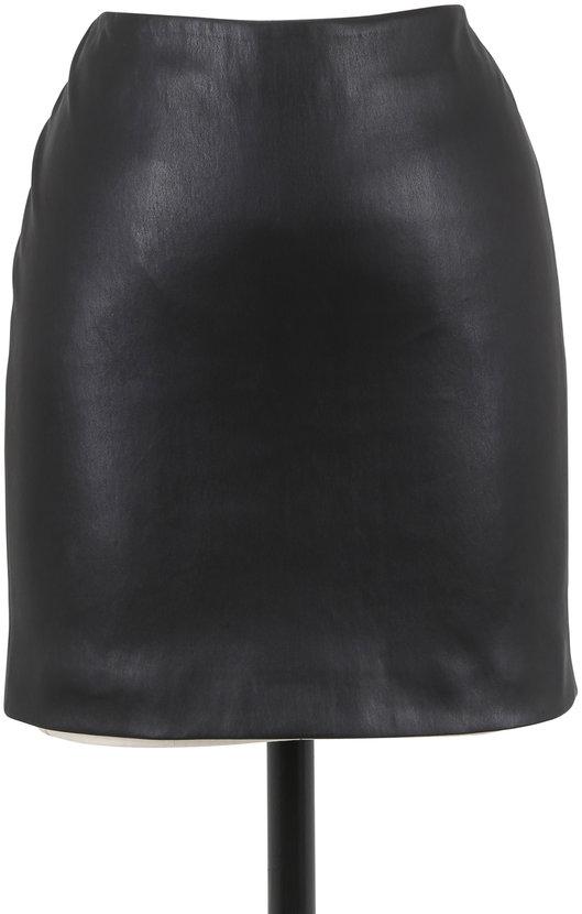 The Row Loattan Black Leather Mini Skirt