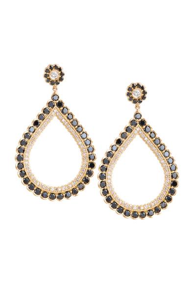 Jamie Wolf - Gold Double Scallop Black & White Diamond Earrings