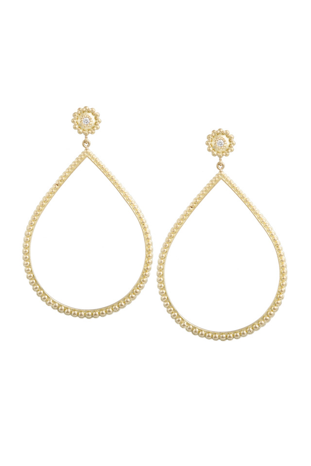 Yellow Gold Beaded Open Earrings