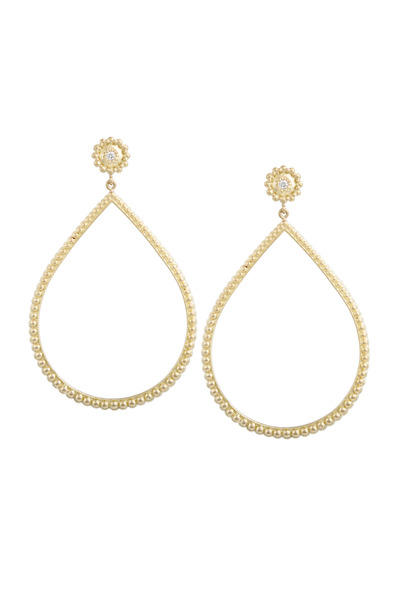 Jamie Wolf - Yellow Gold Beaded Open Earrings