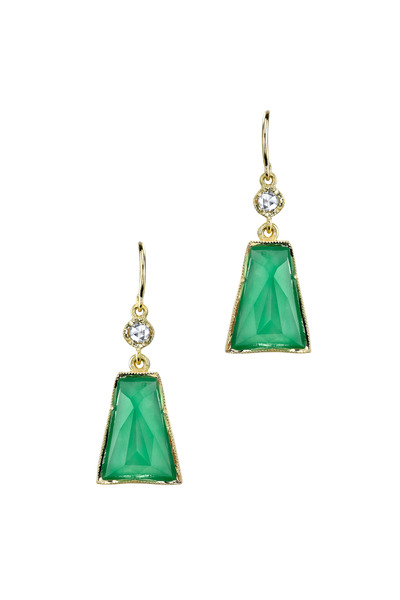 Irene Neuwirth - Gold Trapezoid Chrsophrase Diamond Dangle Earrings