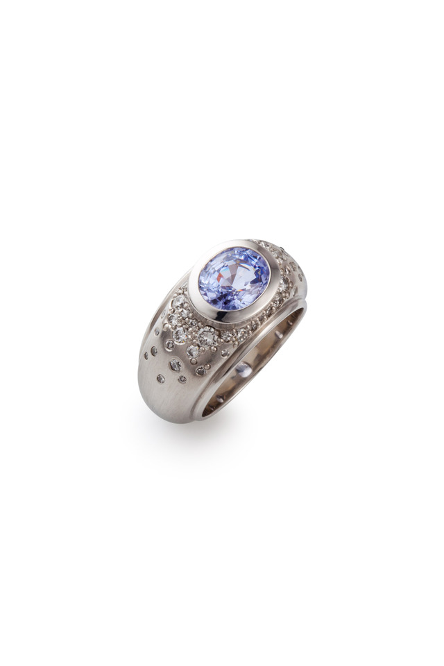 Platinum Lilac Spinel Diamond Melee Ring