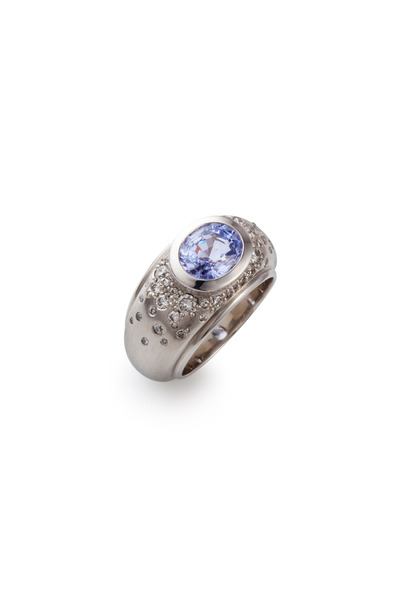 Kathleen Dughi - Platinum Lilac Spinel Diamond Melee Ring
