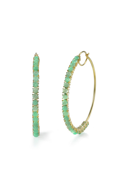 Irene Neuwirth - Yellow Gold Chrysoprase Hoop Earrings