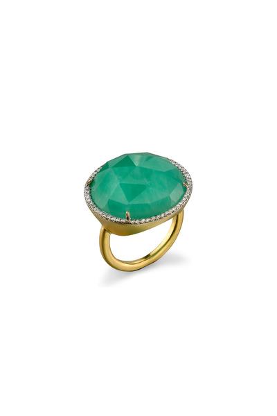 Irene Neuwirth - Yellow Gold Chrysoprase Diamond Cocktail Ring