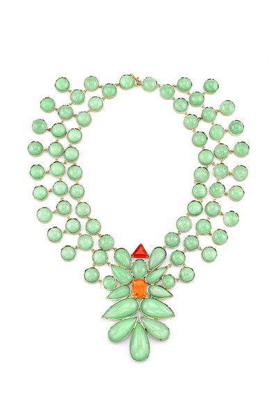 Irene Neuwirth - Yellow Gold Fire Opal & Mint Chrysoprase Necklace
