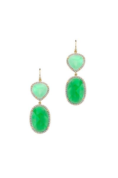 Irene Neuwirth - Gold Mint Chrysoprase Pavé-Set Diamond Earrings