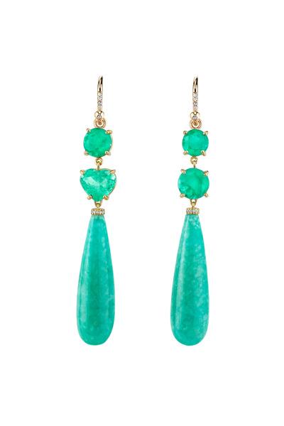 Irene Neuwirth - Gold One-Of-A-Kind Emerald & Amazonite Earrings