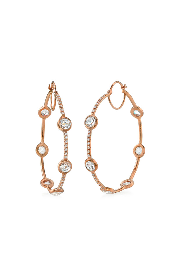 Rose Gold White Diamond Hoop Earrings