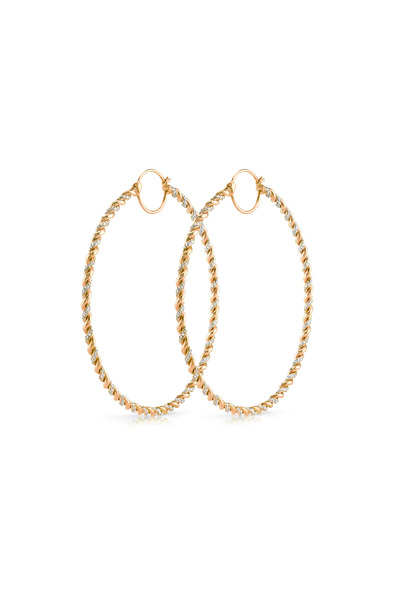 Irene Neuwirth - Rose Gold Pavé-Set Diamond Twisted Hoop Earrings