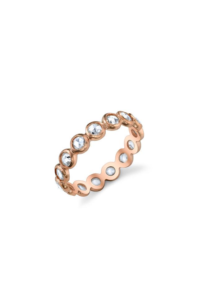 Rose Gold Rose-Cut White Diamond Ring