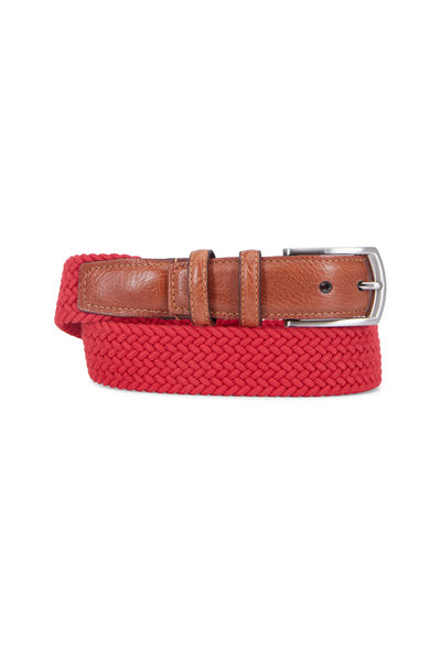 Torino - Red Cotton Elastic & Leather Belt
