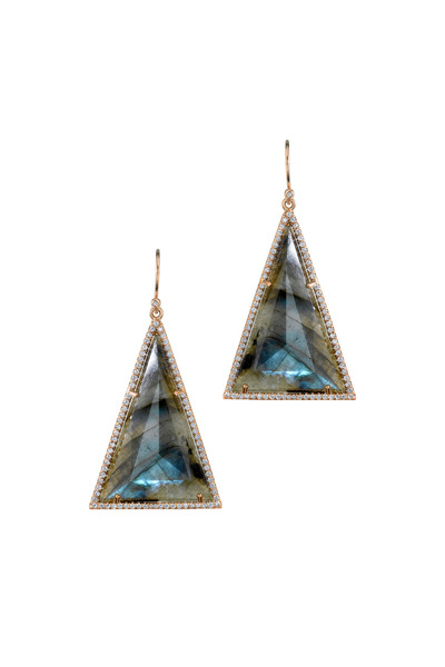 Irene Neuwirth - Rose Gold Labradorite Pavé-Set Diamond Earrings