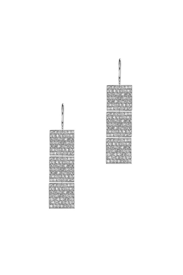 White Gold Pavé-Set 3-Square Diamond Earrings