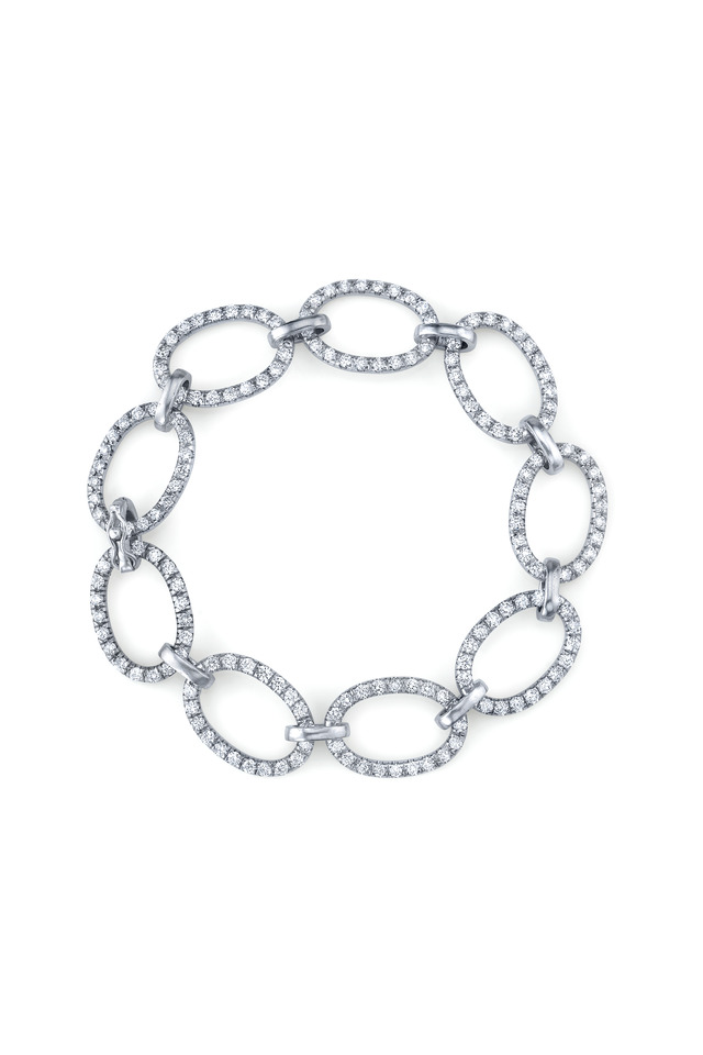 White Gold Large Link Pavé-Set Diamond Bracelet