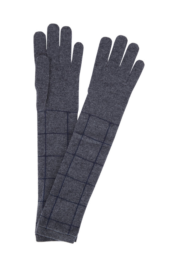Brunello Cucinelli Charcoal Windowpane Cashmere Long Gloves