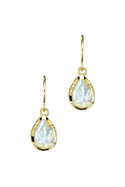 Irene Neuwirth - Yellow Gold Small Rainbow Moonstone Earrings