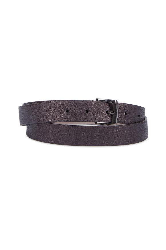 Brunello Cucinelli Viola Metallic Leather Monili Trim Split Belt