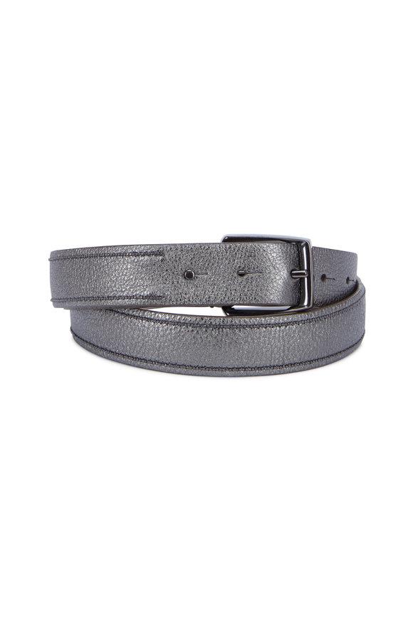 Brunello Cucinelli Gunmetal Leather Two Monili Strips Belt