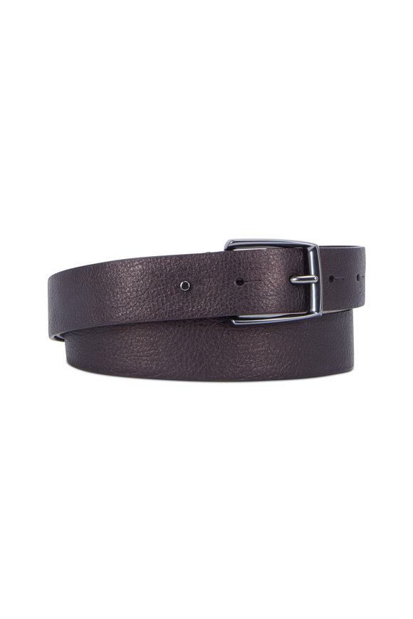 Brunello Cucinelli Viola Metallic Leather Belt