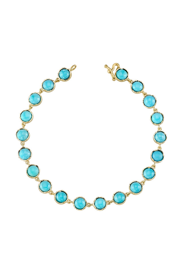 Yellow Gold Turquoise Bead Bracelet