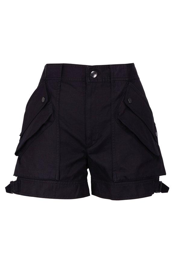 Helmut Lang Black Cotton & Linen Patch Pocket Shorts