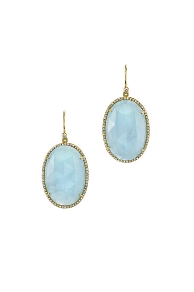 Irene Neuwirth - Yellow Gold Aquamarine & Diamond Earrings