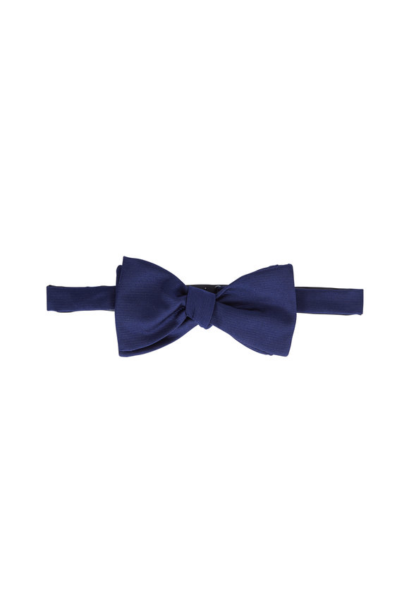 Eton Navy Blue Silk Faille Pre-Tied Bow Tie