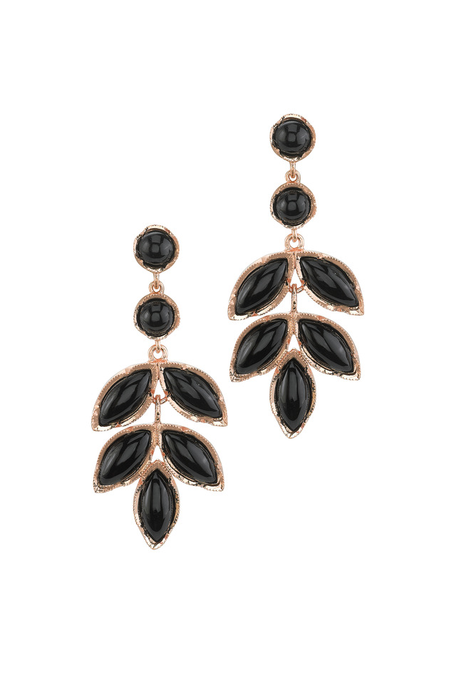 Rose Gold Black Onyx Earrings