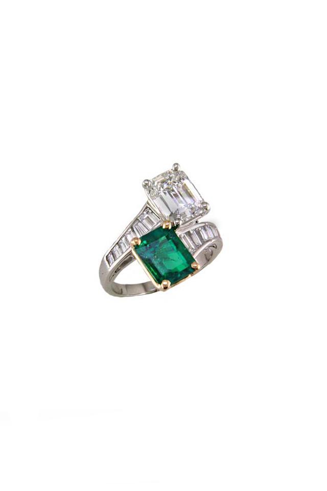 Gold & Platinum Emerald & Diamond Bypass Ring