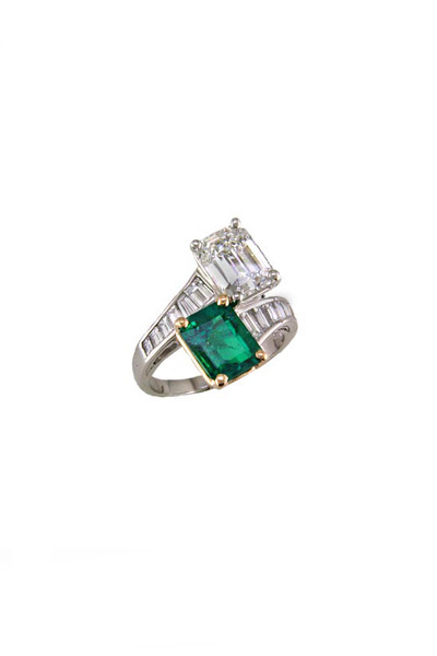 Oscar Heyman - Gold & Platinum Emerald & Diamond Bypass Ring
