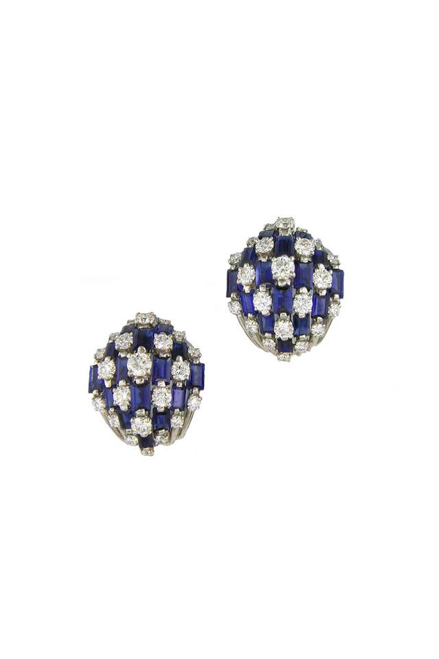 Platinum Sapphire Diamond Dome Button Earrings