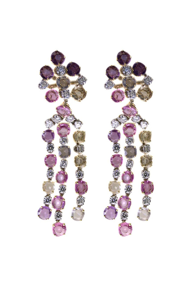 Multicolor Sapphire Diamond Dangle Earrings