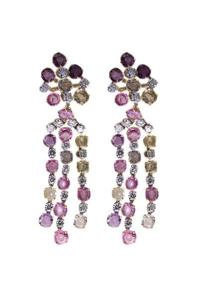 Oscar Heyman - Multicolor Sapphire Diamond Dangle Earrings
